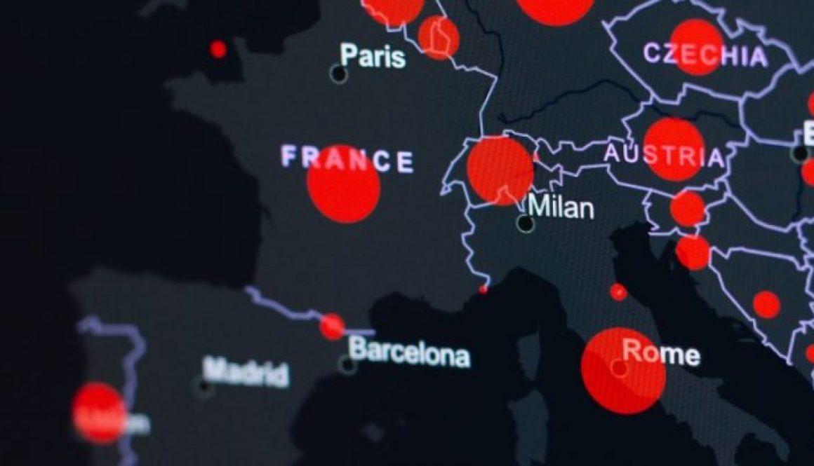 EU Map COVID hotspots